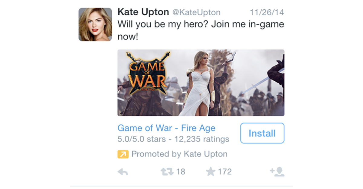 Why is Kate Upton running Twitter ads?