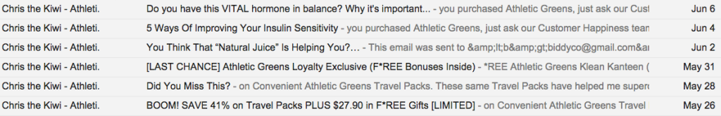 athletic greens autoresponder